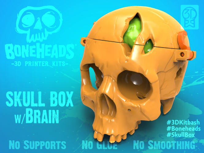 3d kit bash skull box with brain 3d modelling