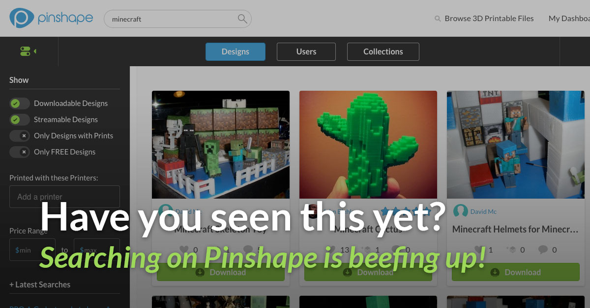 People and Collections Search on Pinshape
