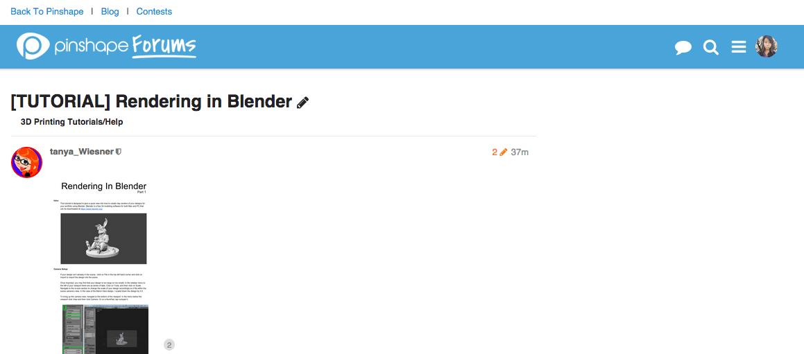 Tanya Wiesner Blender tutorial Pinshape