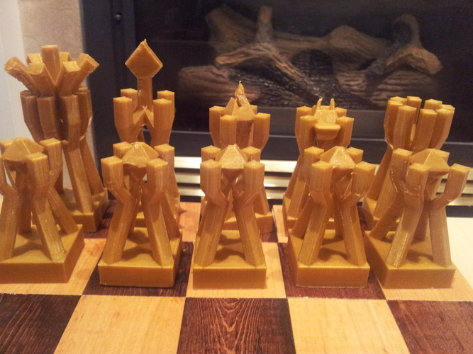 chess set geometric dan steele pinshape