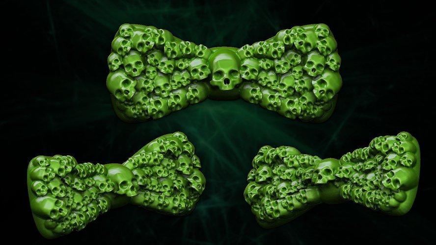 spookiest 3d designs skull bowtie