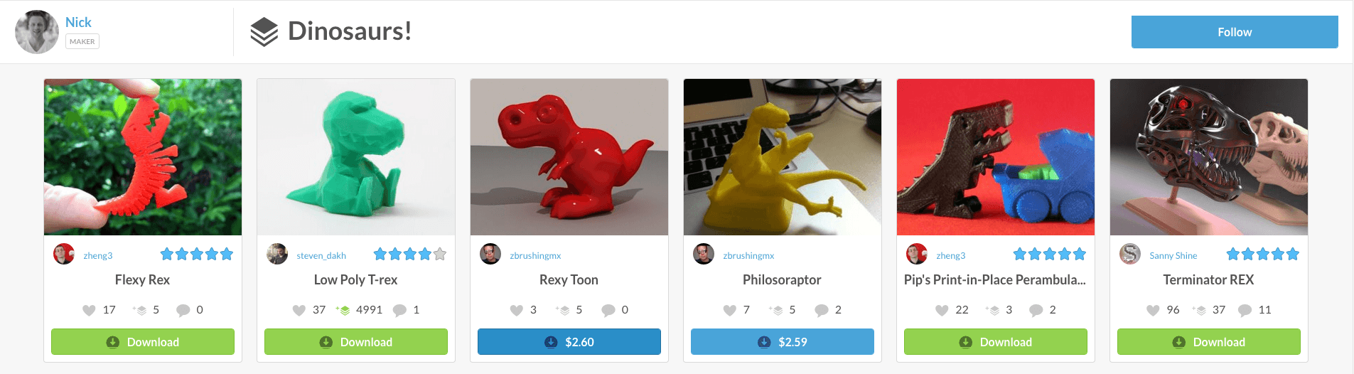 Pinshape 3D Printing Collection View