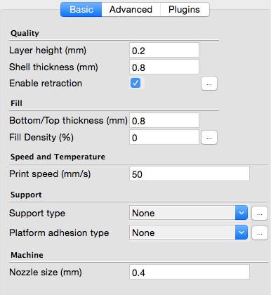 3D Printing Software cura, 3D Slicer settings