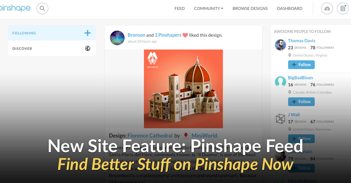 Introducing Pinshape's Feed – You Asked and We Listened!