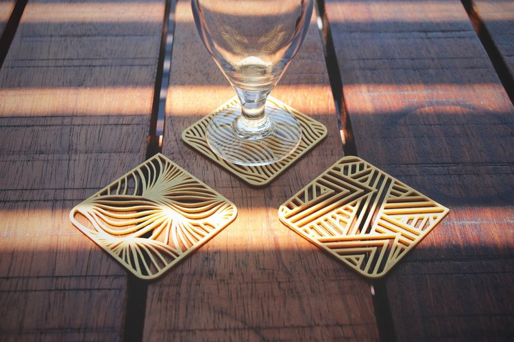 three squared coasters pinshape 3d designs