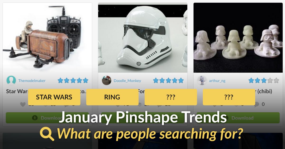 Sell 3D Models People Want! Top 10 Searches on Pinshape Jan 2016