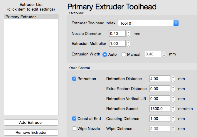 3d slicer primary extruder settings