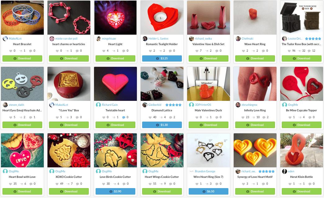 3d printing designs valentine's day