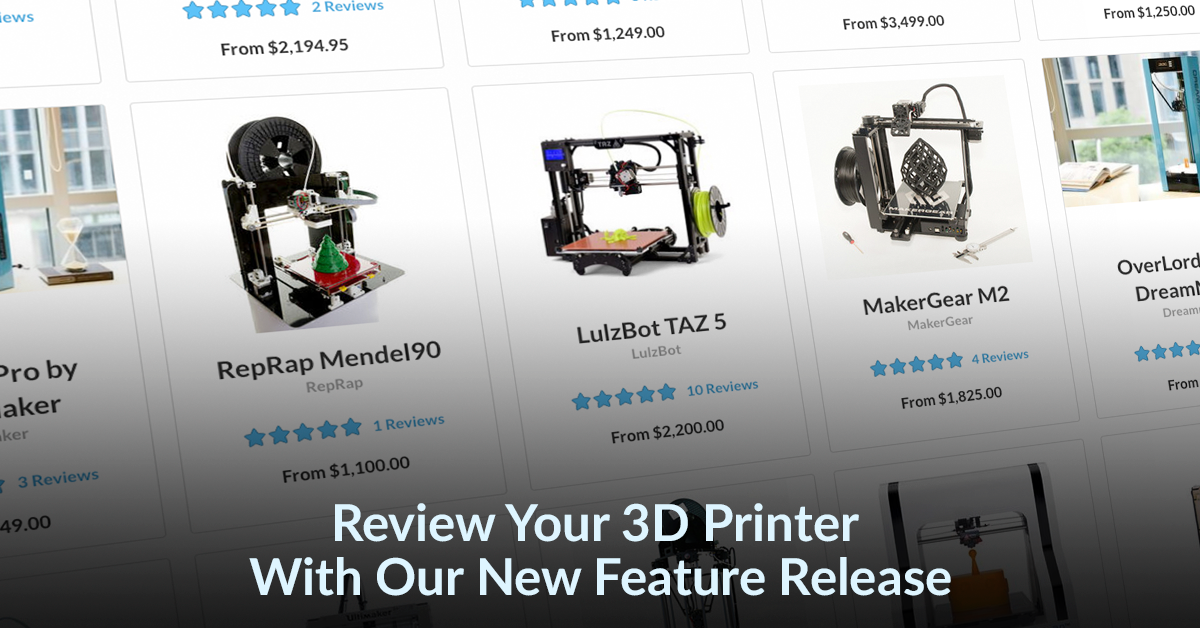 New Feature – Rate and Search your 3D Printer on Pinshape!